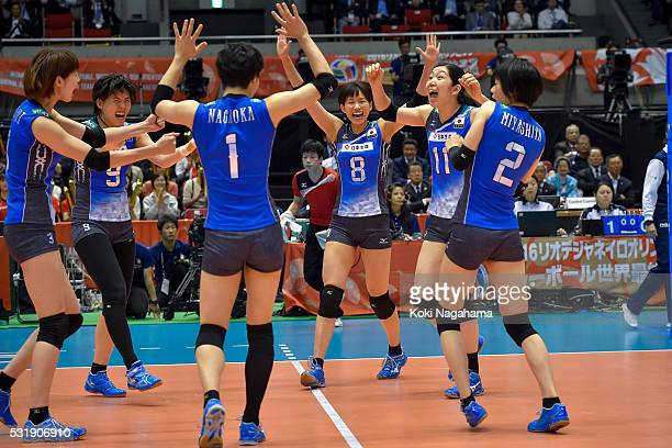 Players of Japan celebrates a point during the Women's World Olympic Qualification game between South Korea and Japan at Tokyo Metropolitan Gymnasium...