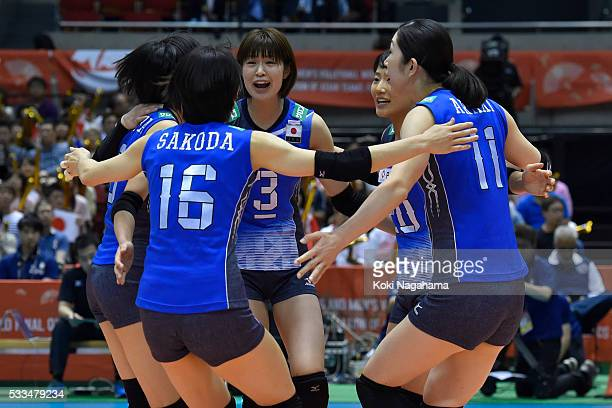 Players of Japan celebrates a point during the Women's World Olympic Qualification game between Netherlands and Japan at Tokyo Metropolitan Gymnasium...