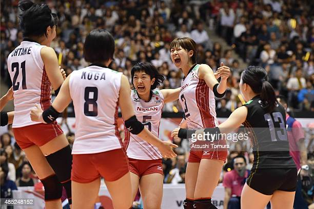 Players of Japan celebrates after winning a point in the match between Japan and Kenya during the FIVB Women's Volleyball World Cup Japan 2015 at...
