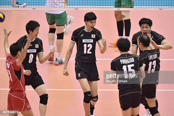 Players of Japan celebrates after winning a point in the match between Japan and Australia during the FIVB Men's Volleyball World Cup Japan 2015 at...