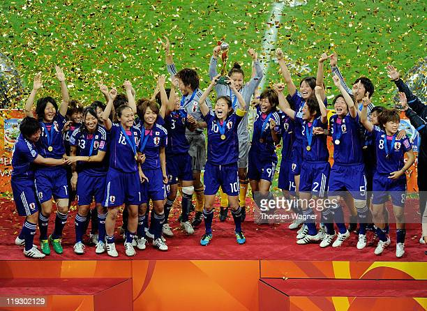 Players of Japan celebrates after winning the FIFA Womens's World Cup Final between the United States of America and Japan at FIFA Word Cup stadium...