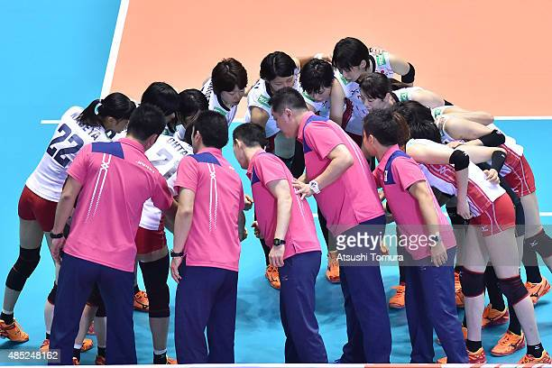 Players of Japan huddle before the match against Kenya in the match between Japan and Kenya during the FIVB Women's Volleyball World Cup Japan 2015...