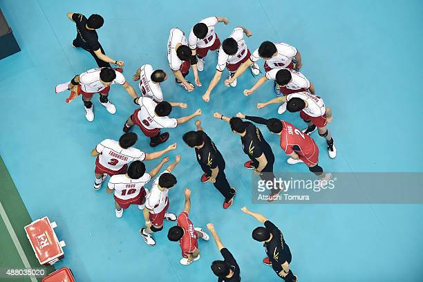 Players of Japan huddle before the match in the match between Italy and Japan during the FIVB Men's Volleyball World Cup Japan 2015 at the Hiroshima...