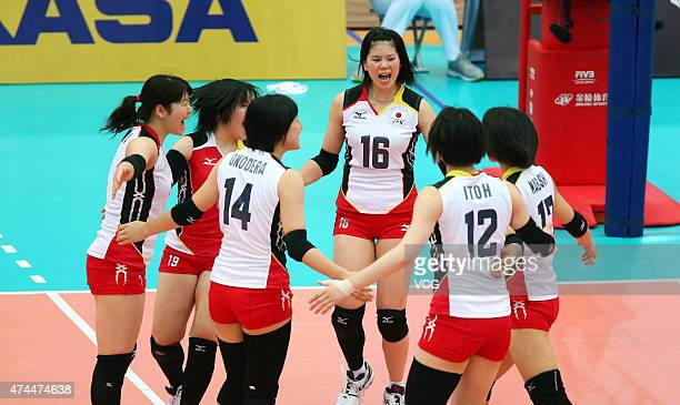 Players of Japan in action during Women's Volleyball match between China and Japan on day four of the 18th Asian Sr Women's Volleyball Championship...