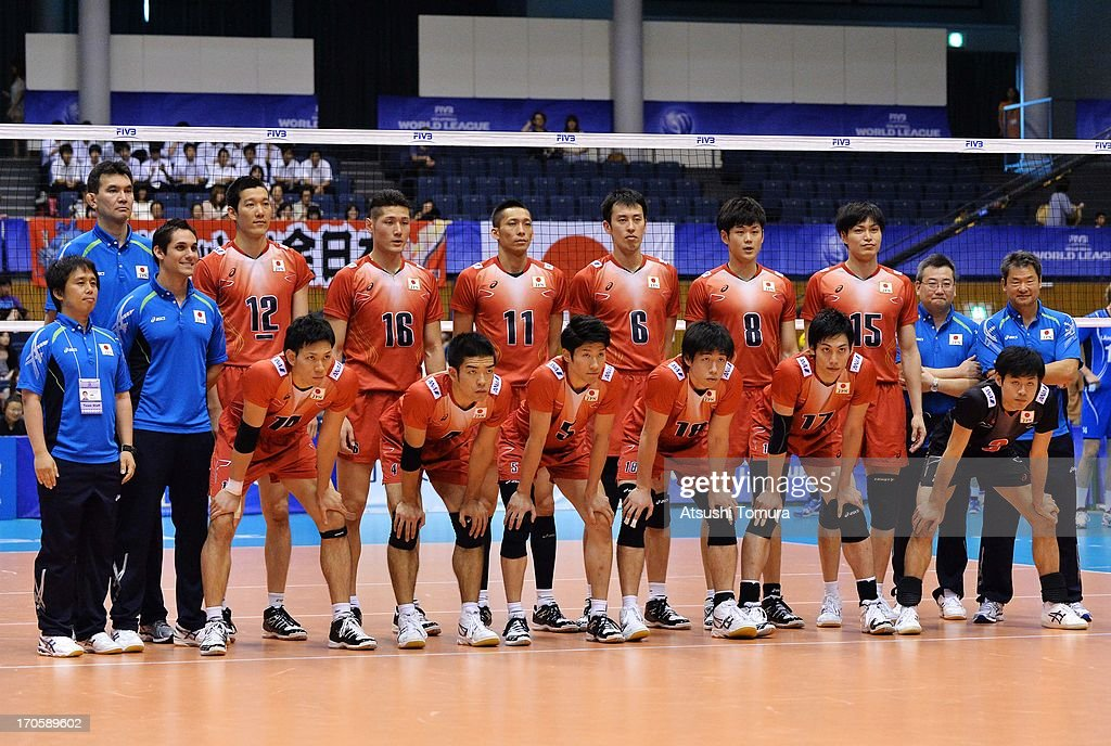 Players of Japan line up for a group photograph during the FIVB World League Pool C match between Japan and Finland at Park Arena Komaki on June 15, 2013 in Komaki, Japan.