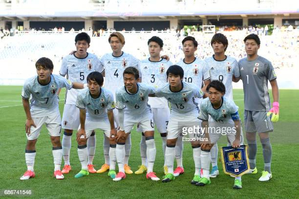 Players of Japan line up for team photos prior to the FIFA U20 World Cup Korea Republic 2017 group D match between South Africa and Japan at Suwon...