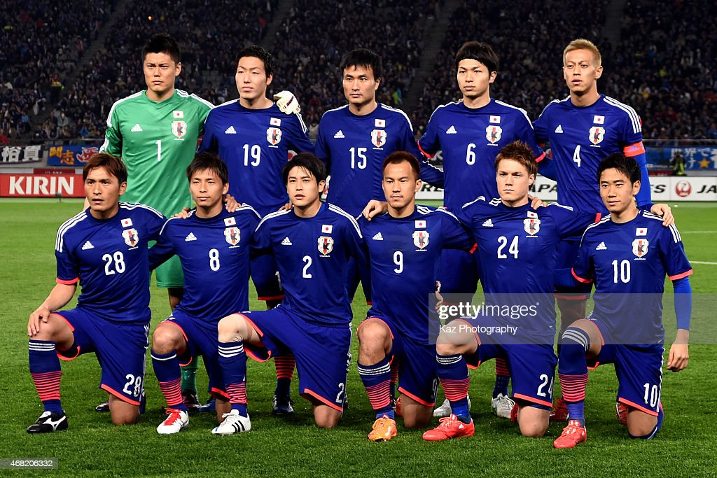 Players of Japan pose for a group photograph during the international friendly match between Japan and Uzbekistan at Ajinomoto Stadium on March 31...