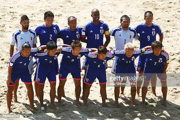 Players of Japan pose for a team photo prior to the FIFA Beach Soccer World Cup Portugal 2015 Group A match beween Japan and Senegal at Espinho...