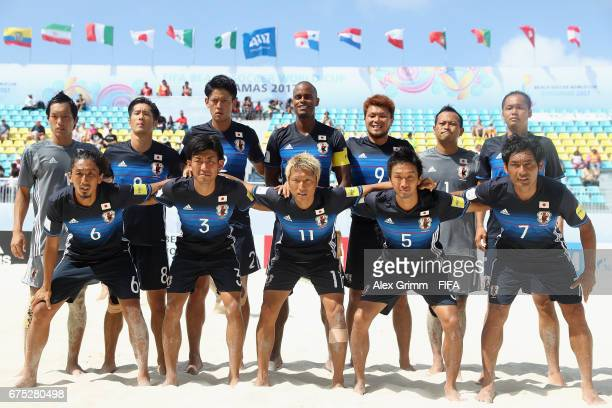 Players of Japan pose for a team photo prior to the FIFA Beach Soccer World Cup Bahamas 2017 group D match between Tahiti and Japan at National Beach...