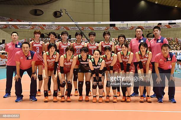Players of Japan pose for a team photograph before the match between Argentina and Japan during the FIVB Women's Volleyball World Cup Japan 2015 at...