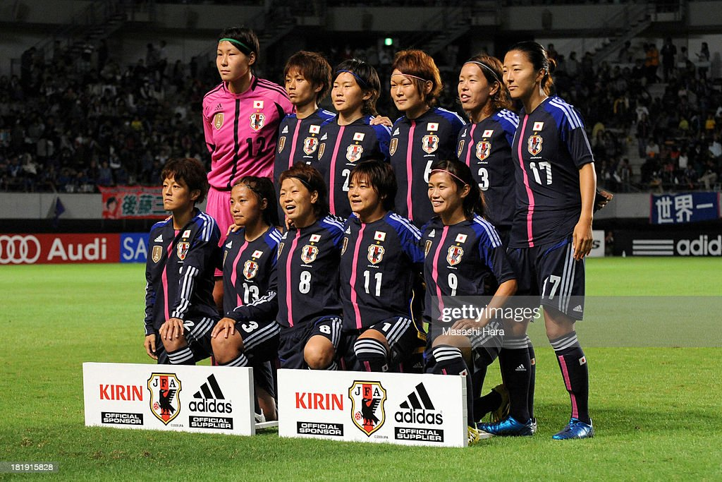 Players of Japan pose for photograph prior to the Women's international friendly match between Japan and Nigeria at Fukuda Denshi Arena on September 26, 2013 in Chiba, Japan.