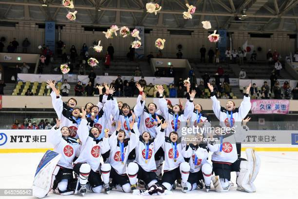 Players of Japan pose with their gold medal during the medal ceremony for the Women's Ice Hockey on the day eight of the 2017 Sapporo Asian Winter...