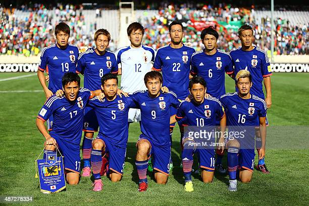 Players of Japan poses for team photo during the 2018 FIFA World Cup Russia qualifier match between Afghanistan and Japan at Azadi Stadium on...