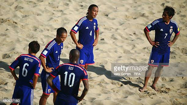 Players of Japan react after the FIFA Beach Soccer World Cup Portugal 2015 Quarterfinal match between Italy and Japan at Espinho Stadium on July 16...