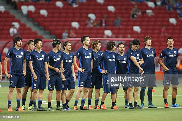 Players of Japan take to the pitch before the 2018 FIFA World Cup Qualifier match between Singapore and Japan at National Stadium on November 12 2015...