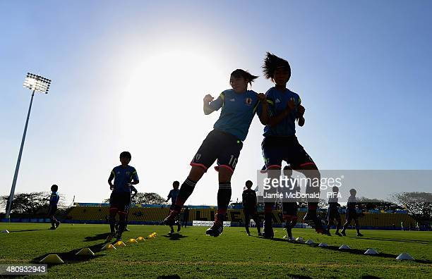 Players of Japan warm up during the FIFA U17 Women's World Cup Quarter Final match between Japan and Mexico at Edgardo Baltodano Briceno on March 27...