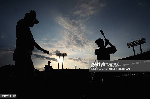 Players of Japan warm up on the field before the super round game between Japan and Venezuela during The 3rd WBSC U15 Baseball World Cup 2016 at the...