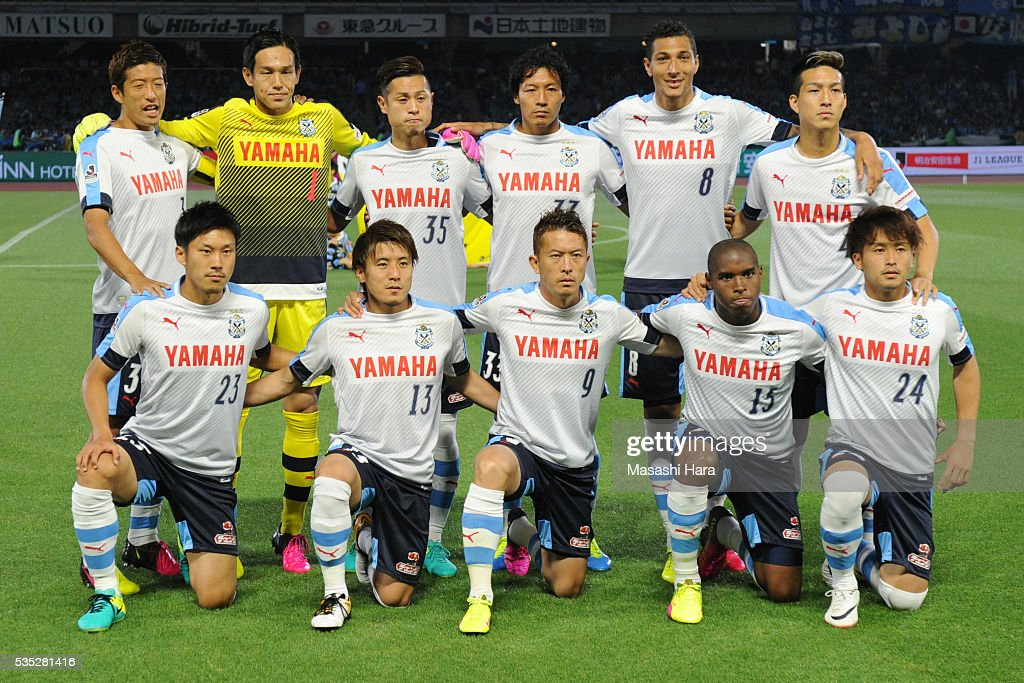 Players of Jubilo Iwata pose for photograph prior to the J.League match between Kawasaki Frontale and Jubilo Iwata at the Todoroki Stadium on May 29, 2016 in Kawasaki, Kanagawa, Japan.