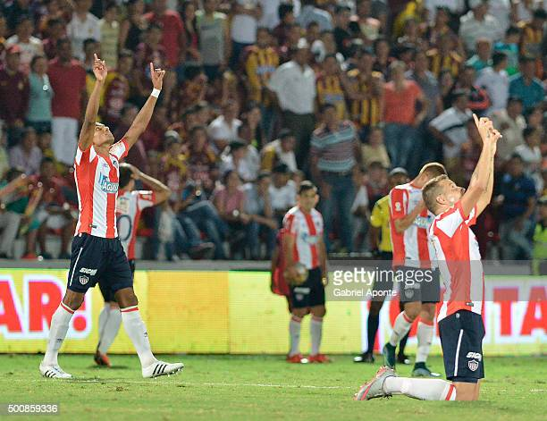 Players of junior Celebrate their victory over Tolima after a first leg match between Deportes Tolima and Ateltico Junior as part of Semi Finals of...