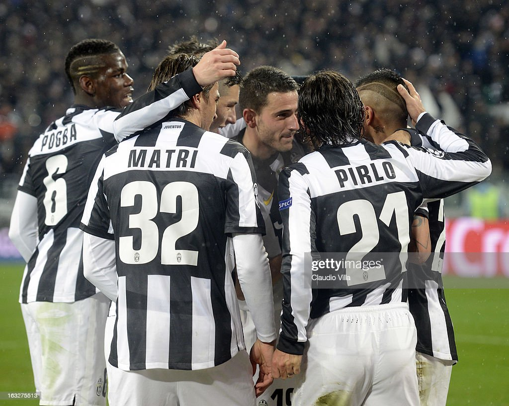 Players of Juventus celebrate during the Champions League round of 16 second leg match between Juventus and Celtic at Juventus Arena on March 6, 2013 in Turin, Italy.