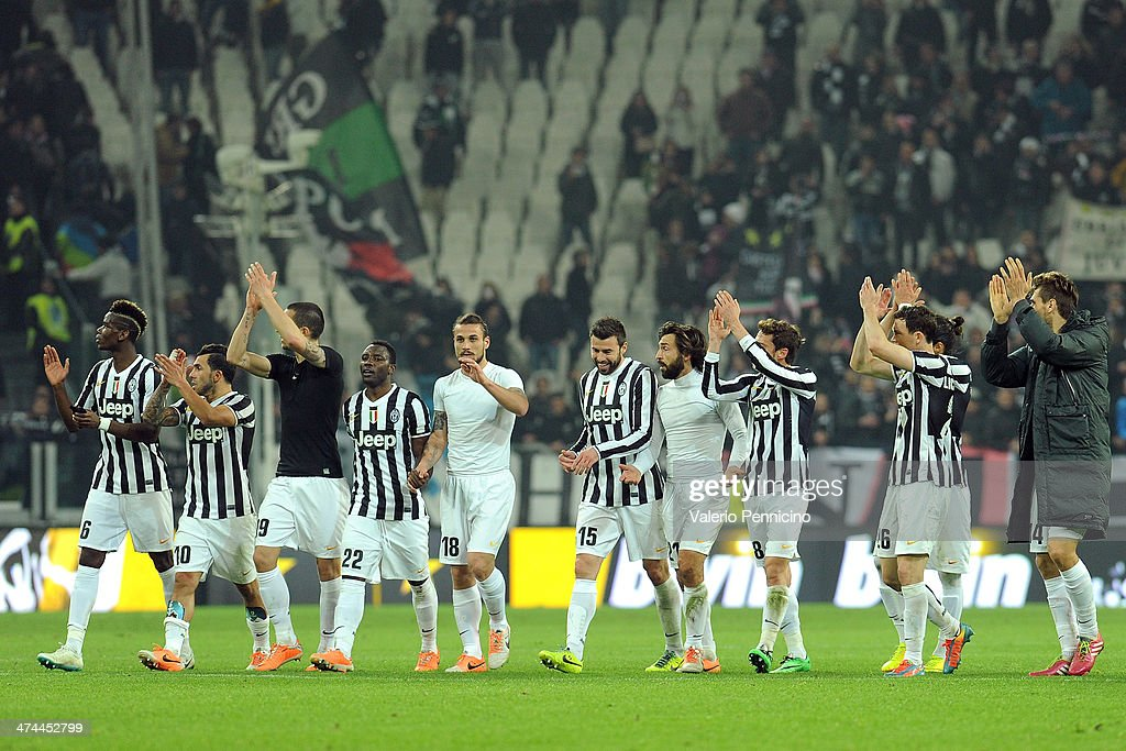 Players of Juventus celebrate victory at the end of the Serie A match between Juventus and Torino FC at Juventus Arena on February 23, 2014 in Turin, Italy.