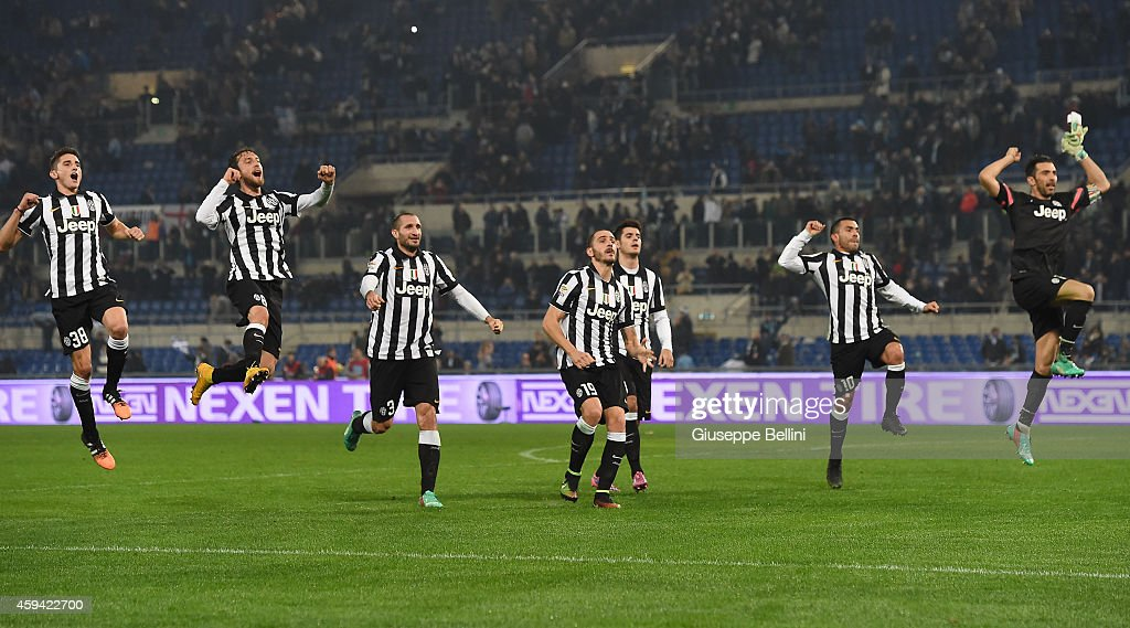 Players of Juventus FC celebrate the victory after the Serie A match ...
