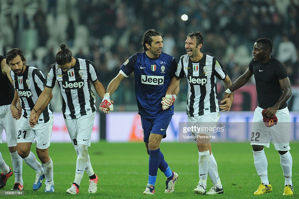 Players of Juventus FC celebrate victory at the end of the Serie A