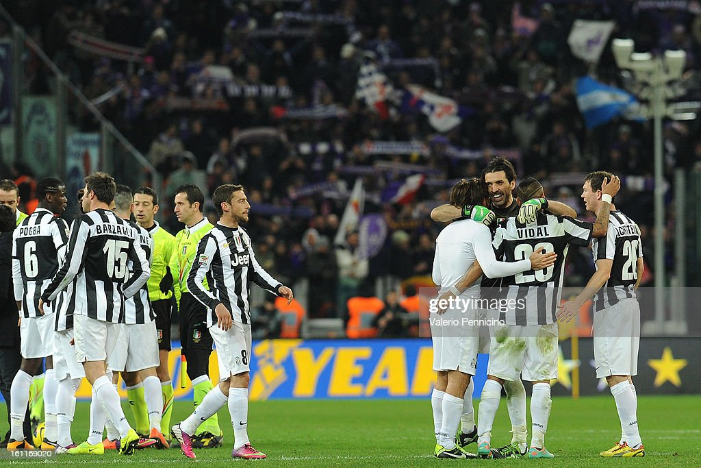 Players of Juventus FC celebrate victory at the end of the Serie A match between Juventus FC and ACF Fiorentina at Juventus Arena on February 9, 2013 in Turin, Italy.