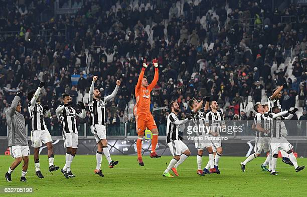 Players of Juventus FC celebrate victory at the end of the TIM Cup match between Juventus FC and AC Milan at Juventus Stadium on January 25 2017 in...