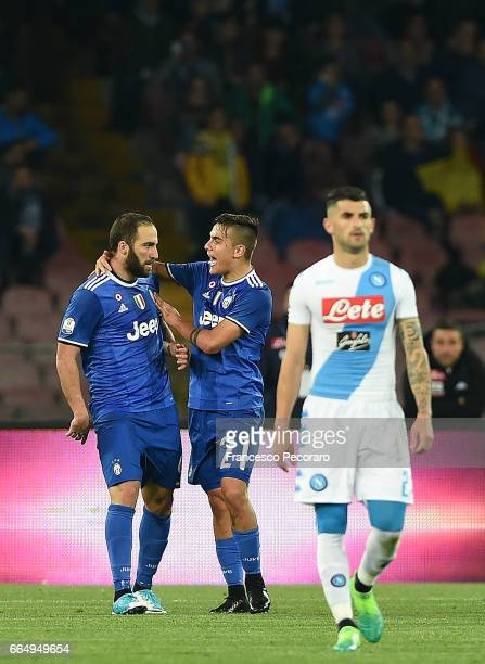 Players of Juventus FC Gonzalo Higuain and Paulo Dybala celebrate after Gonzalo Higuain has scored the 01 goal beside the disappointment of Elseid...