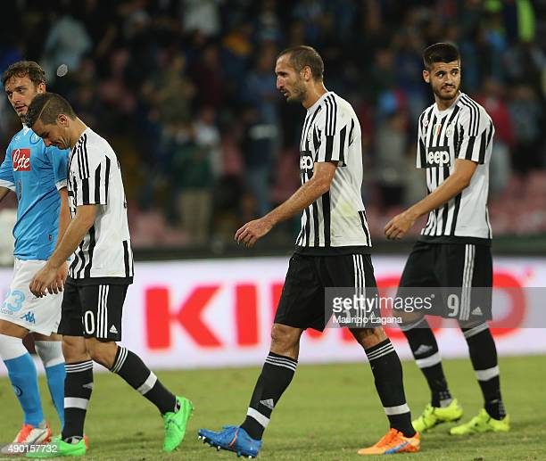 Players of Juventus show their dejection after the Serie A match between SSC Napoli and Juventus FC at Stadio San Paolo on September 26 2015 in...
