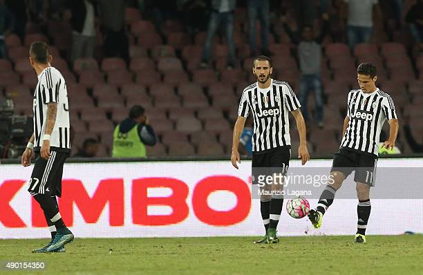Players of Juventus show their dejection during the Serie A match between SSC Napoli and Juventus FC at Stadio San Paolo on September 26 2015 in...