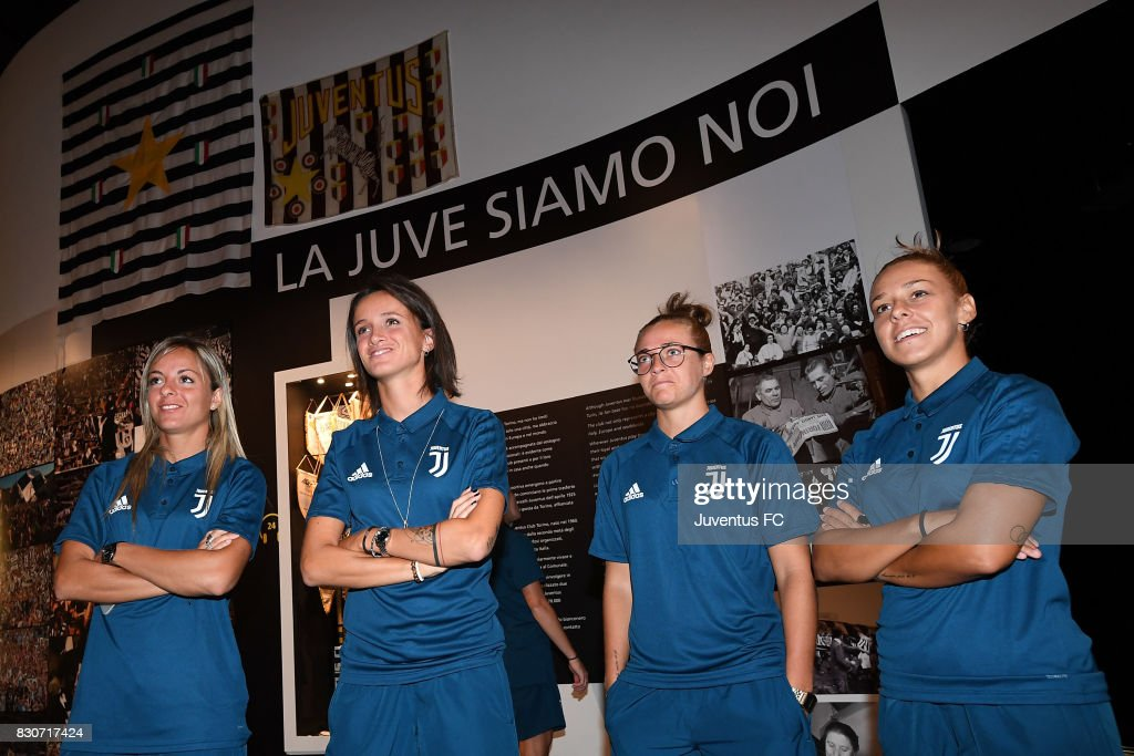 Players of Juventus Women look on during a visit to the Club's Museum on August 12, 2017 in Turin, Italy.