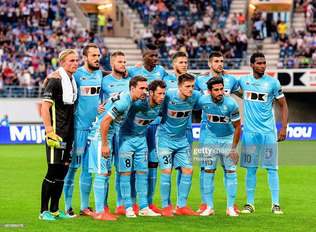 players of KAA gent before the Uefa Europa League match between KAA Gent and KF Shkendija In the Ghelamco Arena Gent Belgium via Getty Images