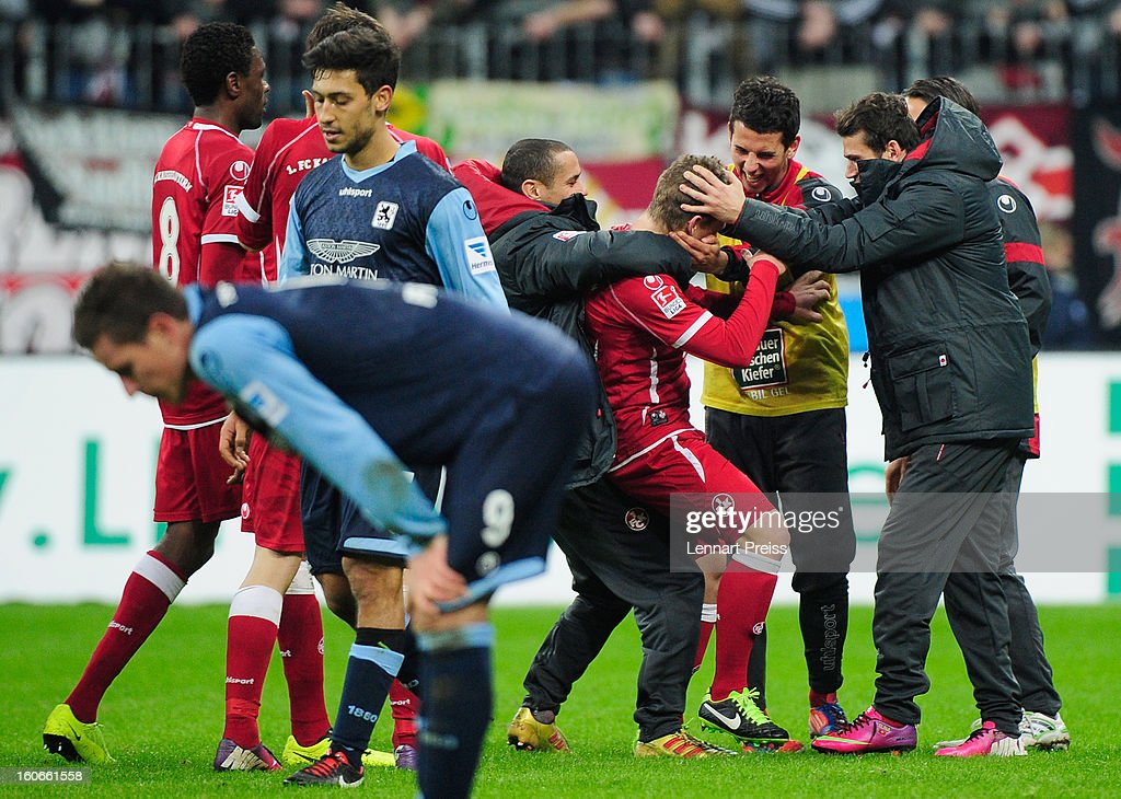 Players of Kaiserslautern celebrate the victory after the Second Bundesliga match between TSV 1860 Muenchen and 1. FC Kaiserslautern at Allianz Arena on February 4, 2013 in Munich, Germany.