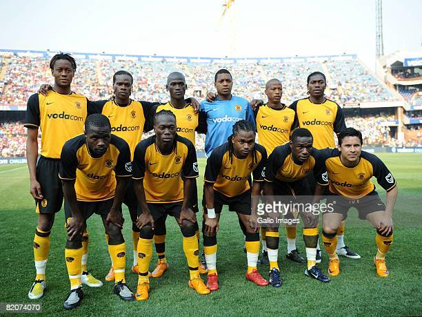 Players of Kaizer Chiefs line up for a team photograph during the Vodacom Challenge preseason friendly match between Kaizer Chiefs and Manchester...