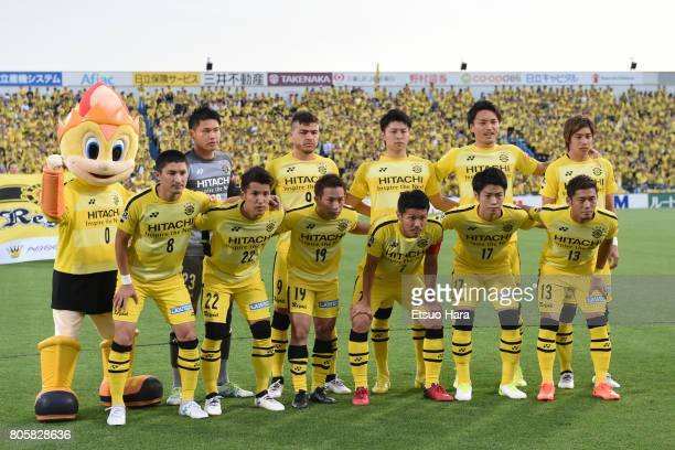 Players of Kashiwa Reysol line up for team photos prior to the JLeague J1 match between Kashiwa Reysol and Kashima Antlers at Hitachi Kashiwa Soccer...