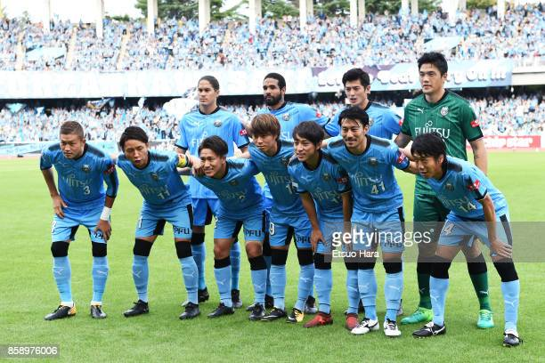 Players of Kawasaki Frontale line up for team photos prior to the JLeague Levain Cup semi final second leg match between Kawasaki Frontale and...