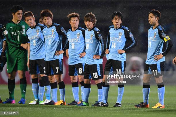 Players of Kawasaki Frontale look on after the AFC Champions League Group G match between Kawasaki Frontale and Guangzhou Evergrande at Kawasaki...