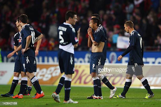 Players of Koeln react after the Bundesliga match between between FSV Mainz 05 and 1 FC Koeln at Coface Arena on April 10 2012 in Mainz Germany