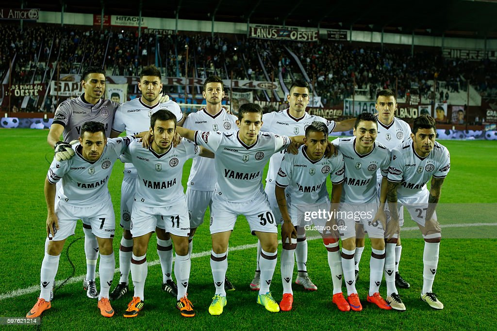 Players of Lanus pose for a team photo prior to a match between Lanus and Boca Juniors as part of first round of Campeonato de Primera Division...