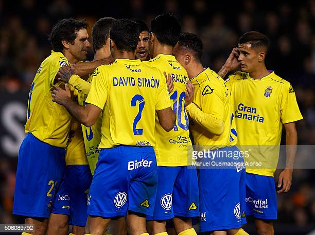 Players of Las Palmas celebrate during the Copa del Rey quarterfinal first leg match between Valencia CF and UD Las Palmas at Estadio Mestalla on...