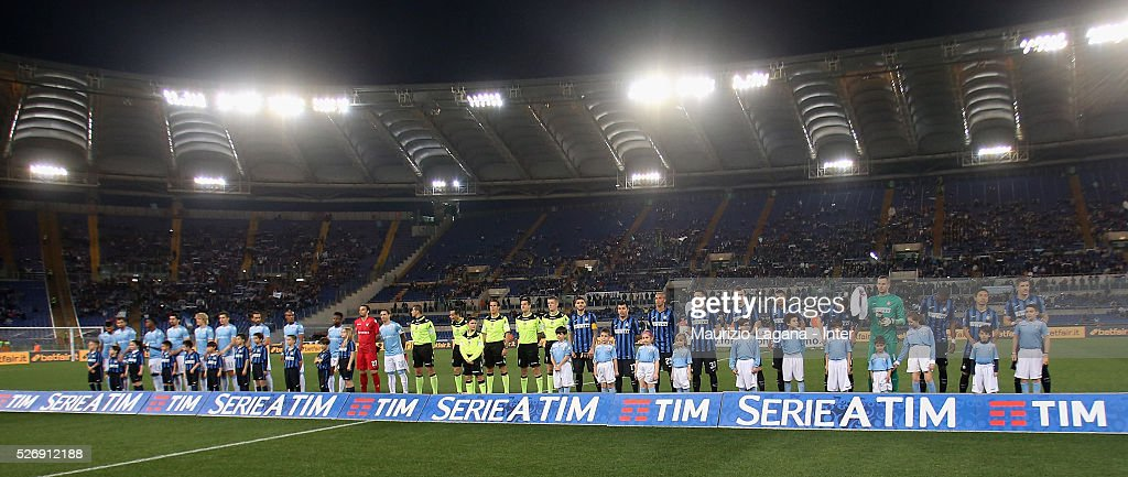 Players of Lazio and Inter line-up prior the Serie A match between SS Lazio and FC Internazionale Milano at Stadio Olimpico on May 1, 2016 in Rome, Italy.