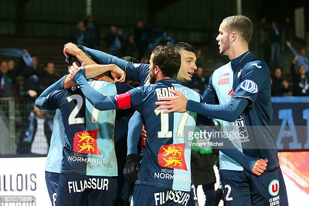 Players of Le Havre celebrate after Ghislain Gimbert of Le Havre scores a goal during the Ligue 2 match between Stade Lavallois and Le Havre AC on...