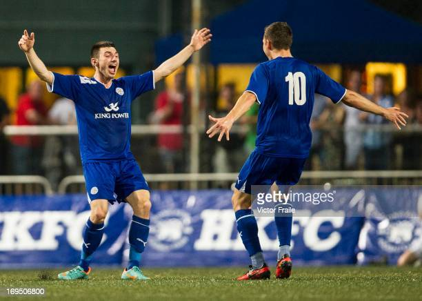 Players of Leicester City celebrate after winning Cup Final match against Newcastle United on day three of the Hong Kong International Soccer Sevens...