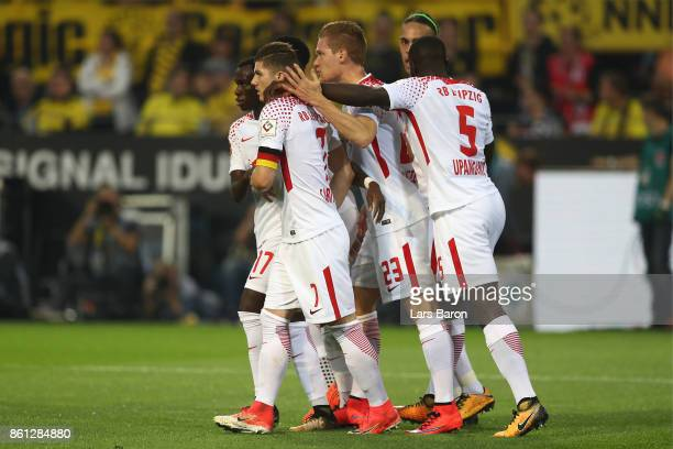 Players of Leipzig celebrate after Marcel Sabitzer of Leipzig scored their teams first goal to make it 11 during the Bundesliga match between...