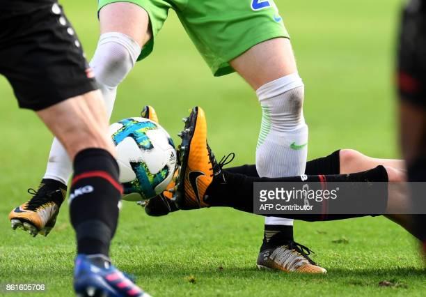 Players of Leverkusen and of Wolfsburg vie for the ball during the German first division Bundesliga football match Bayer Leverkusen vs VfL Wolfsburg...