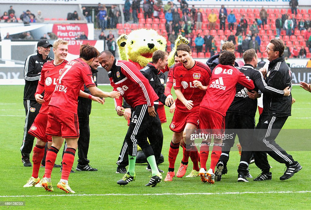 Players of Leverkusen celebrate after the Bundesliga match between Bayer 04 Leverkusen and Werder Bremen at BayArena on May 10, 2014 in Leverkusen, Germany.