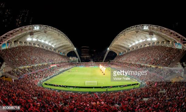 Players of Liverpool FC and Leicester City FC enter the pitch prior to their Premier League Asia Trophy match between Liverpool FC and Leicester City...