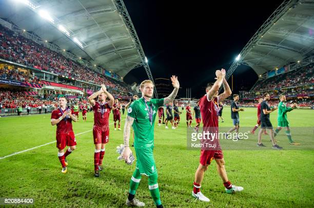 Players of Liverpool FC wave to the fans at the Premier League Asia Trophy match after defeating Leicester City FC 21 in the final at Hong Kong...